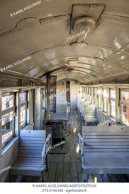 Old Patagonian Express La Trochita, steam train interior, Chubut Province, Patagonia, Argentina