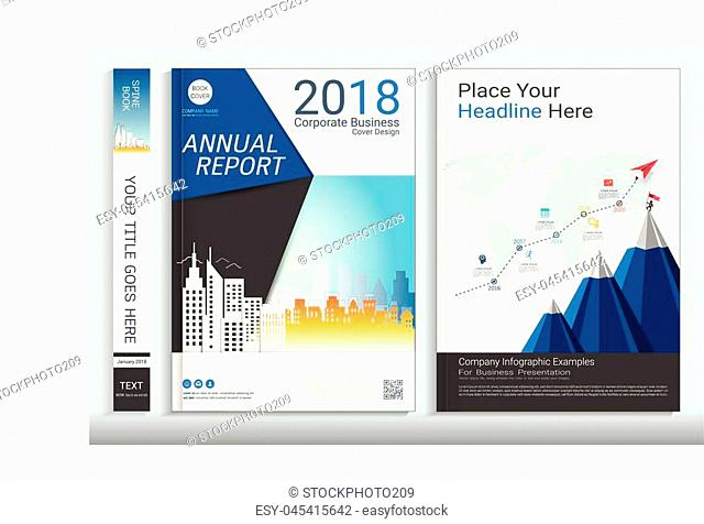 Corporate cover book design template with infographic element, Covers designed for any business topic, Customizing easy to use templates
