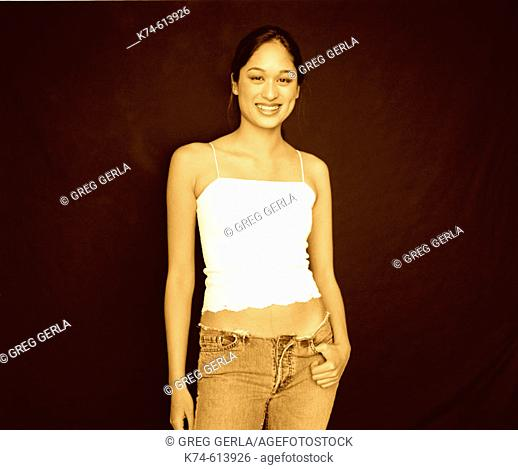 young asian woman smiling at viewer