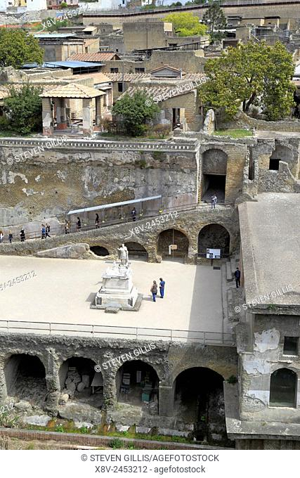 Looking down on Herculaneum, Ercolano, Italy