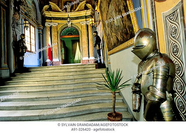 Main stairs and armour. The Grand Master's Palace, now a historical Museum. Valletta. Malta