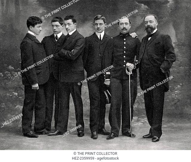 Paul Doumer, French statesman, 1908. Doumer (right) with his five sons, four of whom were killed in the First World War. He served as Governor-General of French...
