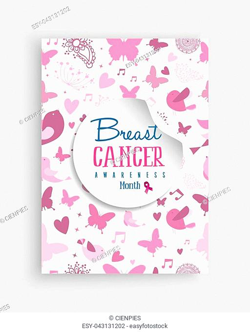 Breast cancer awareness month illustration with cute pink nature decoration art background for support campaign. EPS10 vector