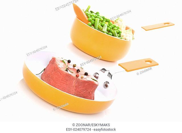 Steak and steamed vegetable