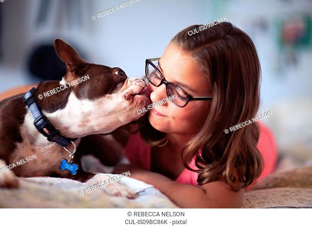 Girl lying on bed, pet dog licking her face