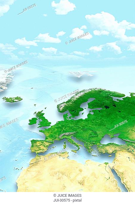 map, Western Europe, physical, clouds, sky