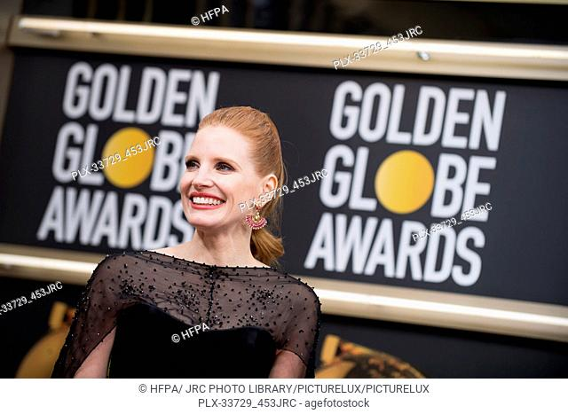 Jessica Chastain attends the 76th Annual Golden Globe Awards at the Beverly Hilton in Beverly Hills, CA on Sunday, January 6, 2019
