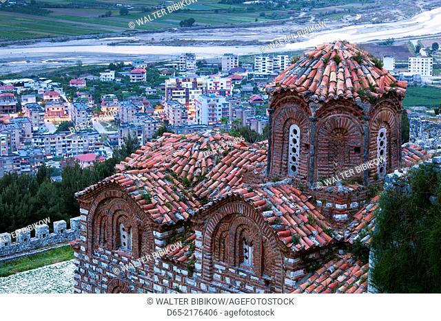 Albania, Berat, Kala Citadel, Church of the Holy Trinity, dusk