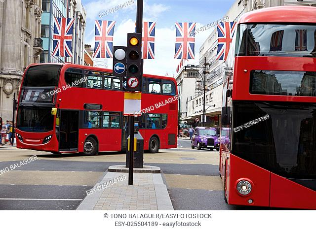 London bus Oxford Street W1 Westminster in UK England