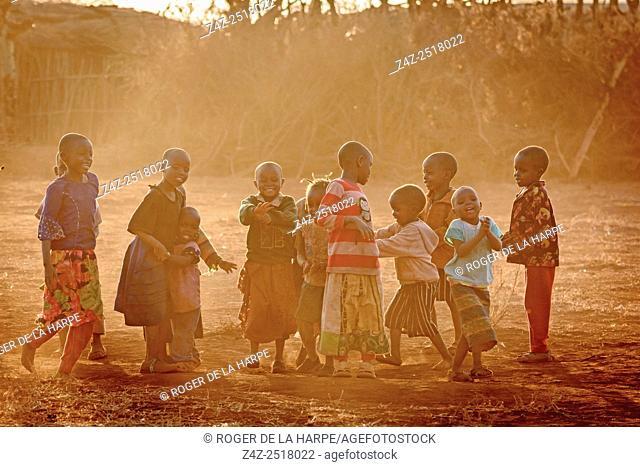 Maasai (Masai) children playing. Satao Elerai Conservancy. Near Amboseli National Park. Kenya