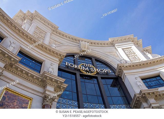 Architectural details above an entrance to The Forum Shops at Caesars Palace, Las Vegas, Nevada, United States