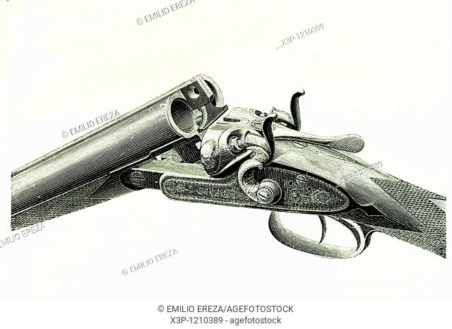 Hammerless shotgun  Antique illustration  1889