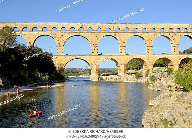 France, Gard, Pont du Gard classified UNESCO World Heritage, Roman aqueduct from the 1st century over the Gardon