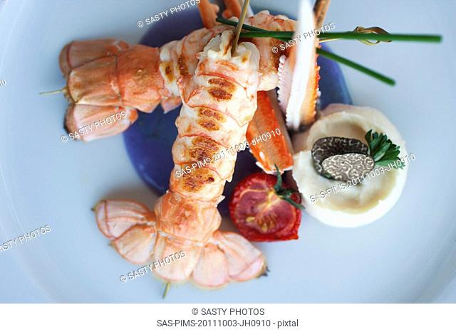 Lobster served in a plate, Sorrento, Campania, Italy