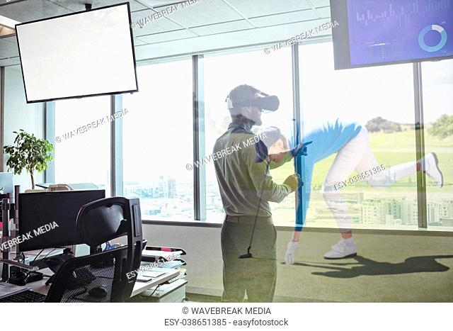 Composite image of business using virtual reality headset by window