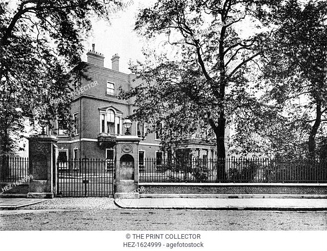 Portman House, Portman Square, 1908. A photograph from The Private Palaces of London by E Beresford Chancellor, (Kegan Paul, Trench, Trubner and Co, London