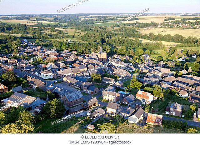 France, Aisne, Thierache region, the village and the fortified church of Plomion (aerial view)
