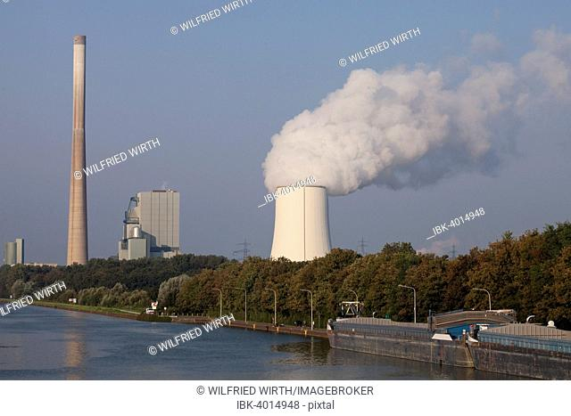 Heil Power Station on Datteln-Hamm Canal, Rünthe, Bergkamen, Ruhr district, North Rhine-Westphalia, Germany