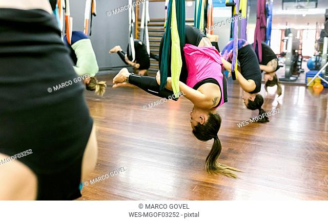 Group of women having a class of aerial yoga