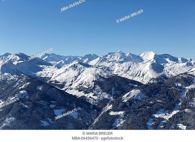 view to Hohe Tauern from the summit station Fulseck (mountain), 2033 m, Dorfgastein, Gasteinertal, St. Johann im Pongau District, Land Salzburg (state), Austria