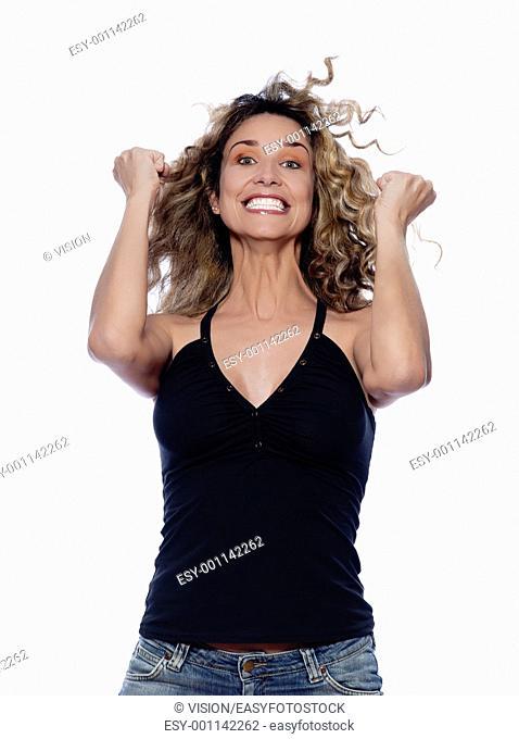 beautiful caucasian woman happy success portrait isolated studio on white background