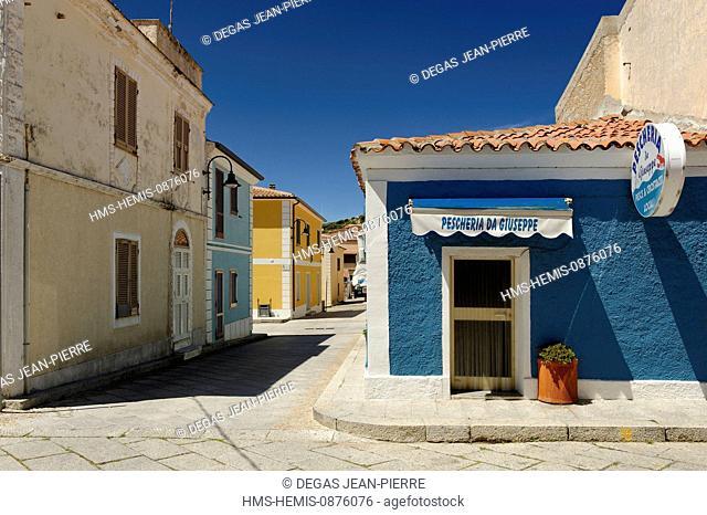 Italy, Sardinia, Olbia Tempio Province, Santa Teresa Gallura, Via Umberto, houses with pastel walls in the old village along the cobbled streets, fish shop