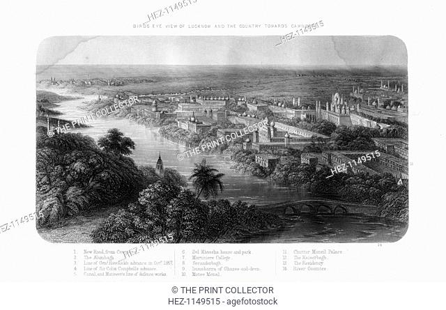 Lucknow, Uttar Pradesh, India, 19th century. View of the city and the River Gumti looking towards Kanpur. During the Sepoy Rebellion or Indian Mutiny...
