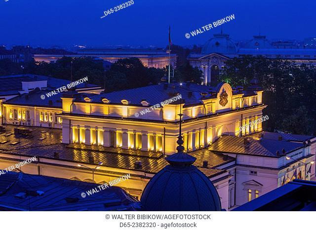 Bulgaria, Sofia, Ploshtad Narodno Sabranie Square, National Assembly building, dusk, elevated view