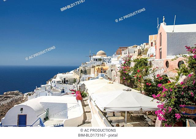 Santorini cityscape under blue sky, Cyclades, Greece