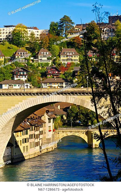 The Nydeggbrucke and Untertorbrucke bridges on the Aare River, Bern, Canton Bern, Switzerland