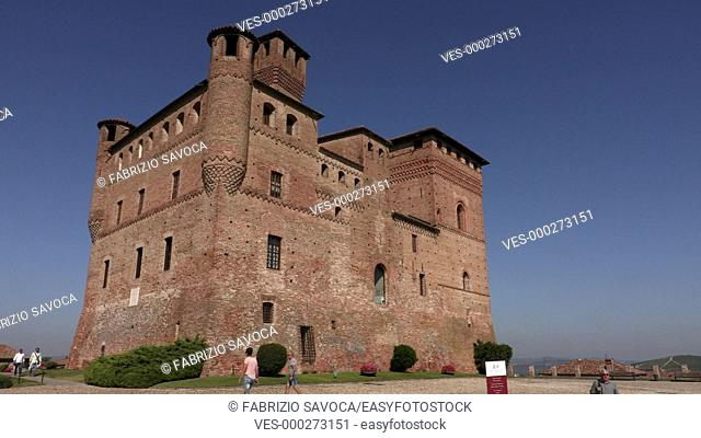 GRINZANE CAVOUR, ITALY SEPTEMBER 28, 2018: Tourists visit the Castle of Grinzane Cavour in the northern Italy