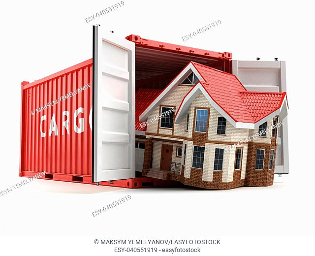 Moving house. Home and cargo shipping container isolated on white. Delivery. 3d