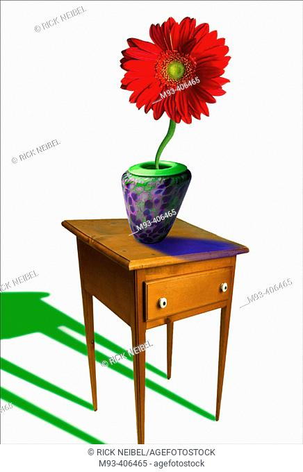 Abstract distorted view of table with vase and flower. Shadows going in inconsistent directions