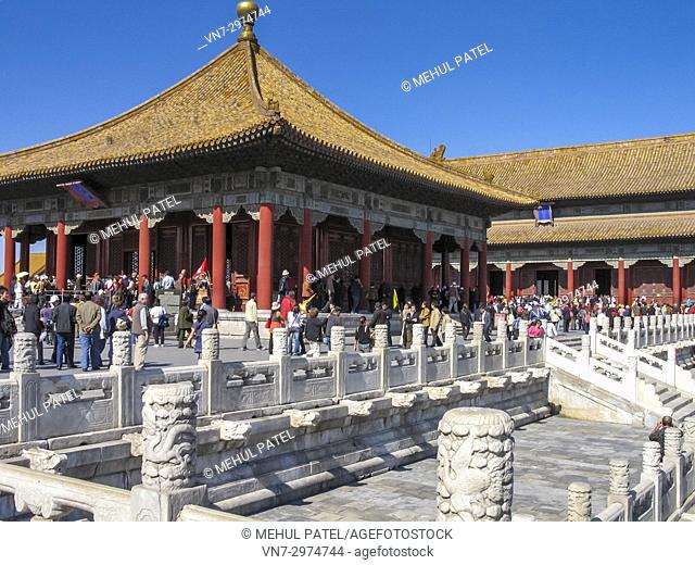 The Hall of Central Harmony (Zhonge Dian - Chinese) (front) and the Hall of Preserving Harmony (Baohe Dian) (right rear) inside the Forbidden City, Beijing