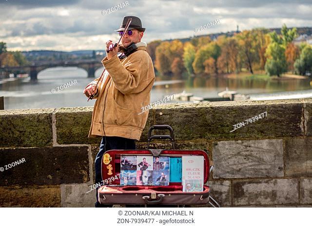 Fiddler on the Charles Bridge in Prague