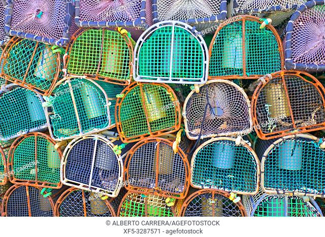 Seafood Pots, Artisanal Fisheries, Port of O Barqueiro, O Barqueiro, Fishing Village, Mañón, A Coruña, Galicia, Spain, Europe