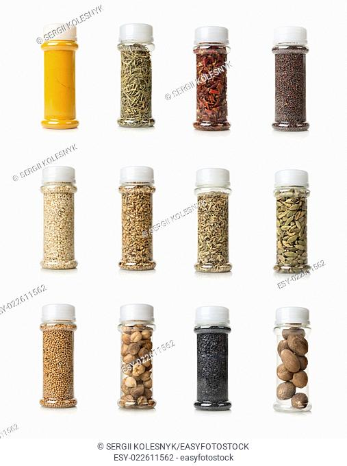 Collage of spices isolated on white background