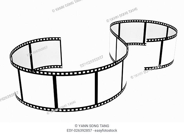 Culved Film strip isolated with white background
