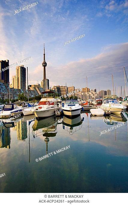 View of Toronto Skyline from harbourfront Marina, Toronto, Ontario, Canada