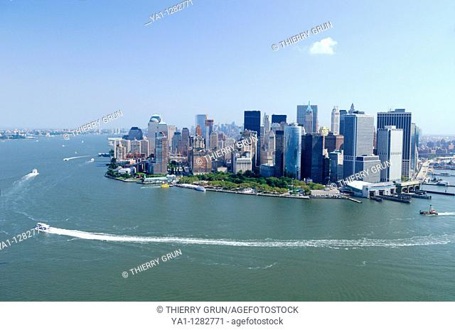 Aerial view of South Manhattan: Battery Point and Financial district, Lower Manhattan, New York city, USA