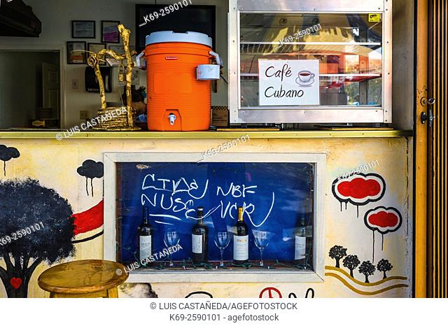 Open air Café Store. Calle Ocho. Little Havana. Miami. Florida. USA