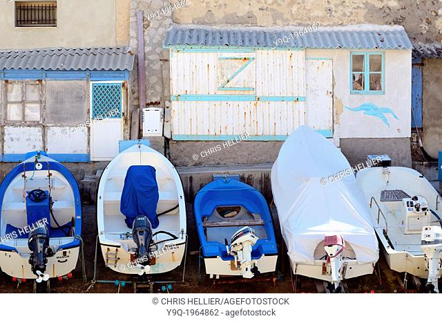Boats & Sheds in Port or Creek of Anse de Malmousque Marseille France