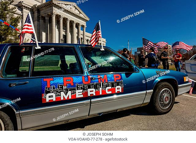 MARCH 4, 2017 - JEFFERSON CITY - TRUMP AMERICA CAR SIGN shows President Trump Supporters At Rally, Jefferson City, State Capitol of Missouri