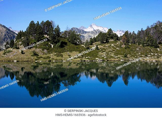 France, Hautes Pyrenees, Neouvielle Nature Reserve, reflection of Neouvielle peak in the lake of Bastan