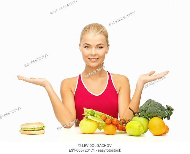 picture of woman with fruits versus hamburger