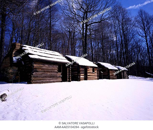 Soldiers huts in winter snow at Jockey Hollow, Morristown National Historical Park, Morris County, New Jersey