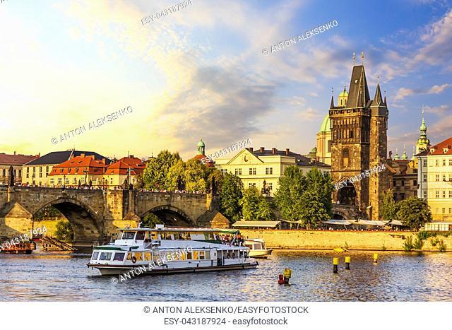 A ship in the Vltava near the Charles Bridge and Old Town Bridge Tower, Prague