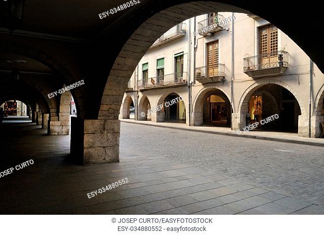 Square of El Vi Girona, Catalonia,Spain,