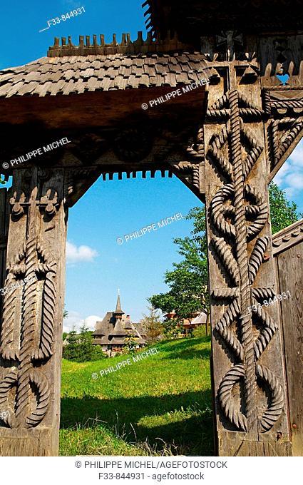 Wooden gateway of monastery, Barsana, Maramures County, Romania