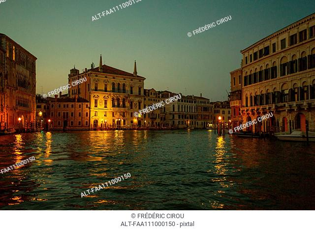 The Grand Canal in Venice, Italy, at dusk